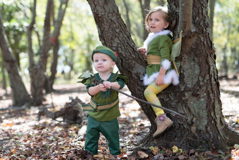 Young children in costumes